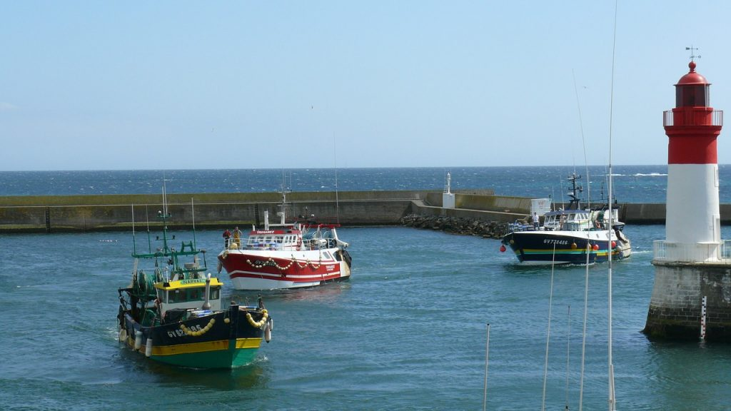 bateaux de pêche qui rentre dans le port de Guilvinec